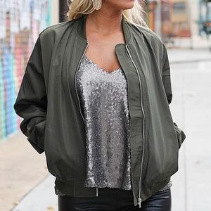 Worn once olive green Bomber jacket